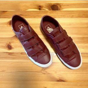 VANS Burgundy Leather Velcro Sneakers